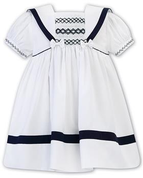 Sarah Louise girls dress 011869-20 Wh/Nvy