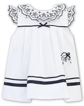 Sarah Louise girls dress 011878-20 Wh/Nvy