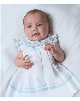 Sarah Louise girls dress 011881-20 Wh/Bl