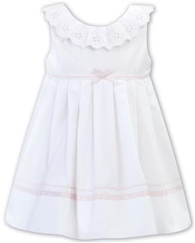 Sarah Louise girls dress 011881-20 Wh/Pk