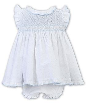 Sarah Louise girls dress and panty 011917-20 Wh/Bl