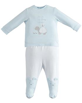 I Do boys 2 pce romper with feet 4J053-20 Blue