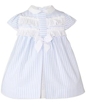 Miranda Baby Girls Striped Dress 27-0147-V-20 BLUE