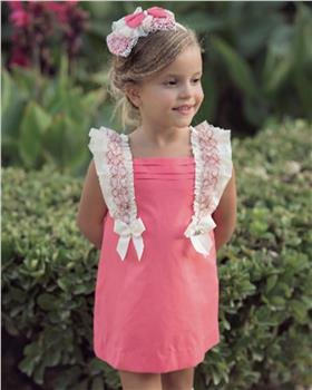 Miranda Girls Dress 27-0274-V-20 Coral