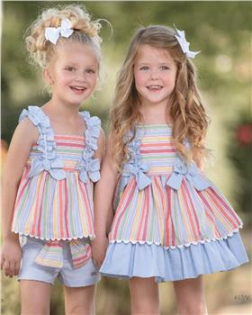 Miranda Girls Pastel Striped Shorts Set 27-0612-2/3-20