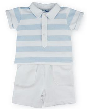Sardon boys striped polo & shorts set 20CO-505 Bl/Wh