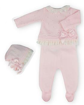 Sardon girls knitted 2 piece with hat 20MC-176 Pink