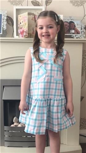 Daga girls checkered bow dress 7840-20