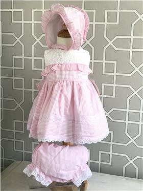 Dolce Petit girls dress with knicks and bonnet 27-2000-VBG Pink