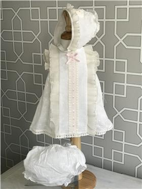 Dolce Petit girls dress with knicks and bonnet 27-2004-VBG Beige