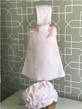 Dolce Petit girls dress with knicks and bonnet 27-2008-VBG Pink