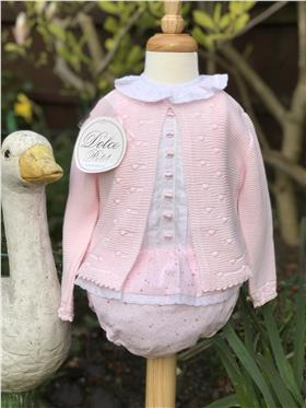 Dolce Petit girls top and knicks with cardigan 27-2050-23R Pink