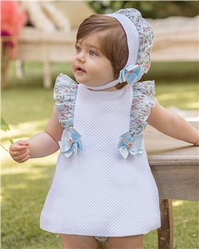 Dolce Petit girls dress with knicks and bonnet 27-2125-VBG White