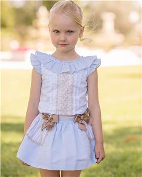 Dolce Petit girls top and skirt set 27-2249-23 Blue