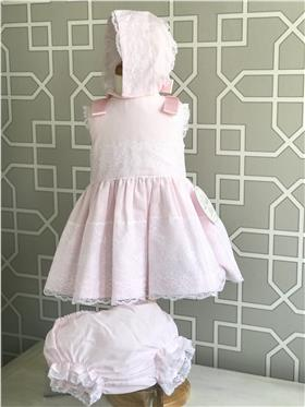 Dolce Petit girls dress with knicks and bonnet 27-2009-VBG Pink