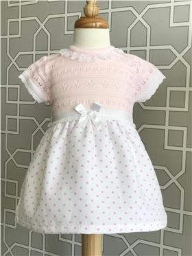 A&J Girls Spotty Dress AJ155-18 Pink