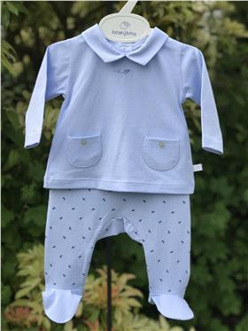 Laranjinha baby boys top & footsie V0144-20 Blue