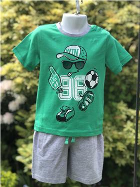 I Do baby boys T shirt & short W731 Green