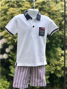 Ido Boys Summer Polo And Shorts U711-733-18 White