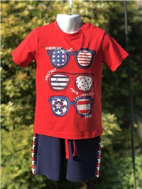 I Do baby boys T shirt & short W732 Red