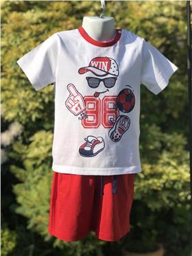 I Do baby boys T shirt & short W731 Red