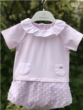 Laranjinha baby girls all in one bubble V0086-20 Pink