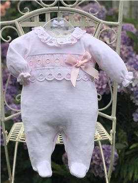 Mintini baby girls velour babygrow MB2061-19 Pink
