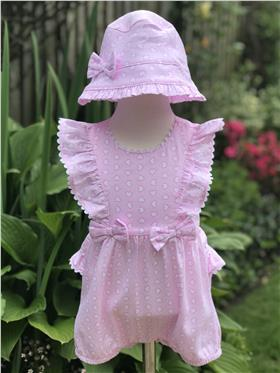 Brecrest Girls Heart Print Romper & Sun Hat NN0152 Pink