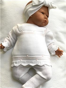 Macilusion baby girls outfit 7606-20 Wh/Pk