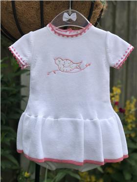 Dr Kid Girls Knitted Dress & Knicks DK171-18 WH/PK