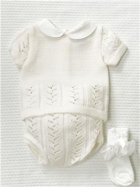 Pex baby girls knitted outfit Lolli B6611 Cream