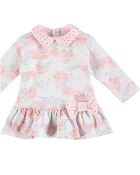 Baby a Dee girls rose print dress LW20700-20 White