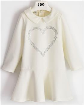 I Do girls knitted dress with sleeves 41643-20 Cream