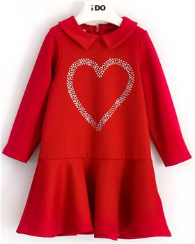 I Do girls knitted dress with sleeves 41643-20 Red