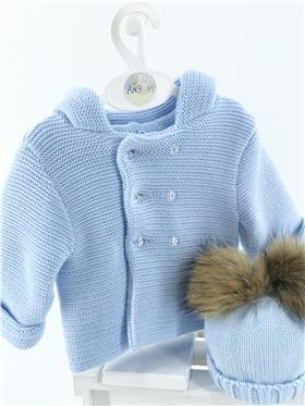 Sardon baby boys knitted hooded jacket 20VE-335 Blue