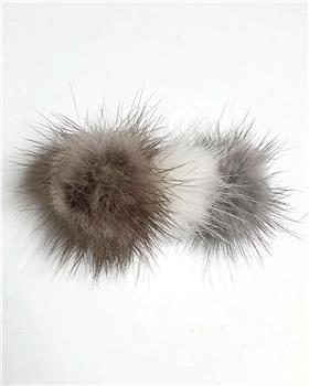 Daga girls 3 fur pom hairslide A2063-20 grey