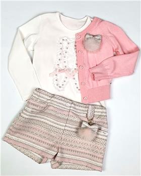 Daga girls pearl shoe top & shorts 7934-7932 cr-pk