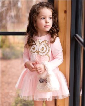 Daga girls sequin owl dress M7937-20 pink