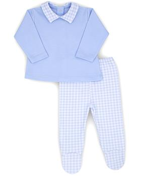 Rapife baby boys two piece checked footsie 4802-20 Bl/Wh