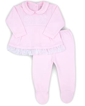 Rapife girls two piece flower footsie 4401-20 Pink