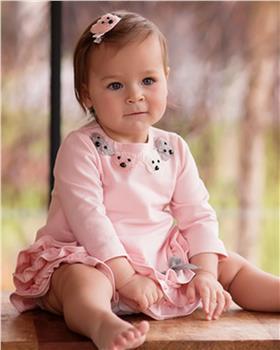 Daga girls teddy bear face ruffle dress M7924-20 pink