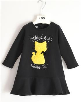 I Do girls knitted dress with sleeves 41638-20 Black