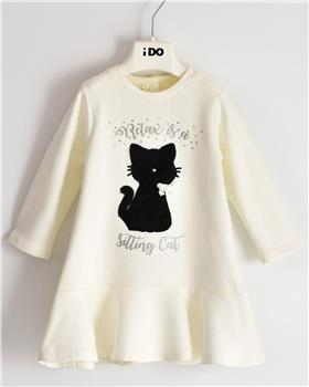 I Do girls knitted dress with sleeves 41638-20 Cream