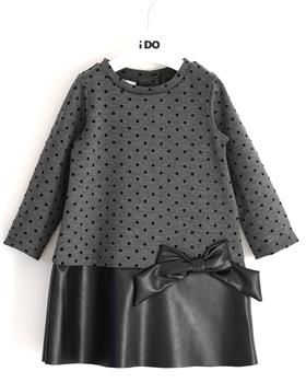I Do girls knitted dress with sleeves 41639-20 Gr/Blk