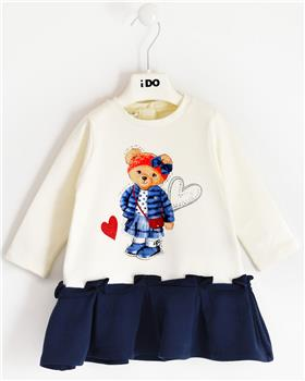 I Do girls knitted dress with sleeves 41636-20 Cream