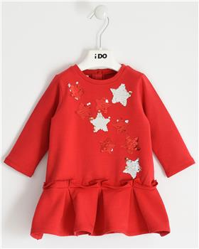 I Do girls knitted dress with sleeves 41636-20 Red