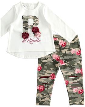 Camoflauge I Do girls top & trousers set 41647-1619-20 Cr/Pk