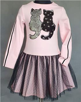 Daga girls dress with black sequin cats M7971-20