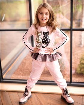Daga girls sequin cat top & legging M7973-7939 PK-BLK