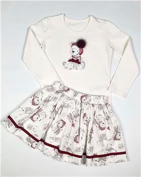 Daga girls top with teddy & skirt M7965-7966-20